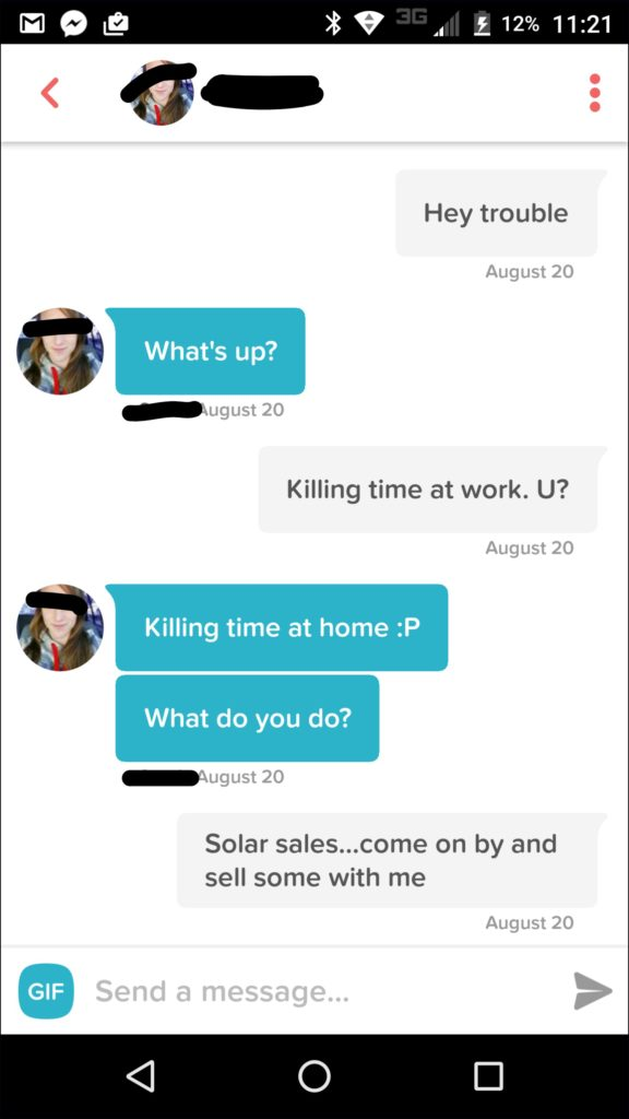 How to message on Tinder - example of the opener and early vibing and flirting on Tinder.